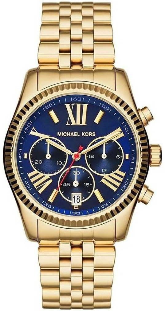 512b7ecee403 ... Michael Kors Women s Lexington Chronograph Blue Dial Gold-Tone Watch  MK6206. FLASH SALE