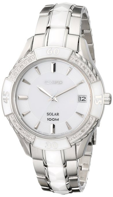 Seiko Women's Solar White Dial White Ceramic Watch SNE881