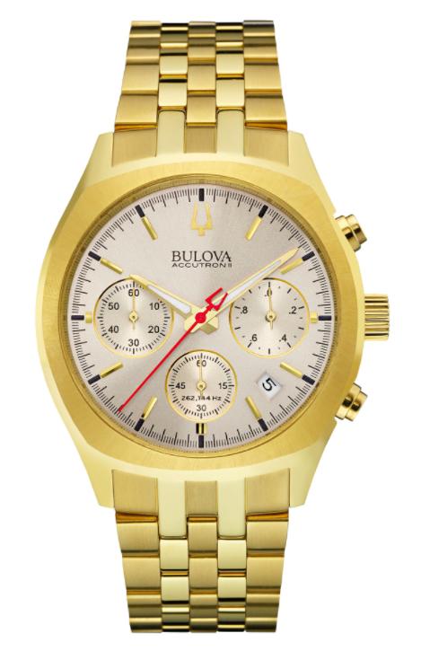 Bulova Men S Chronograph Silver Dial Gold Tone Watch 97b150