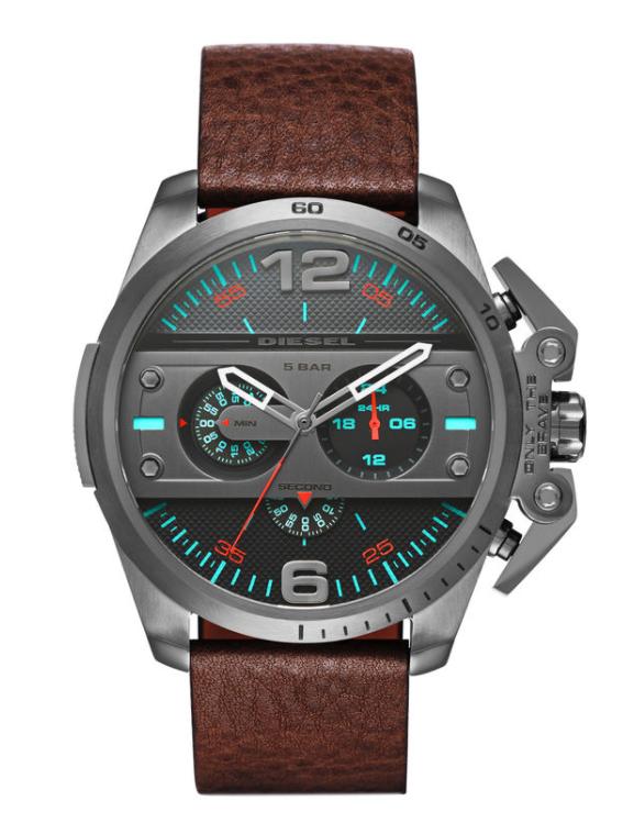 Diesel Men's Ironside Chronograph Brown Leather Watch DZ4387