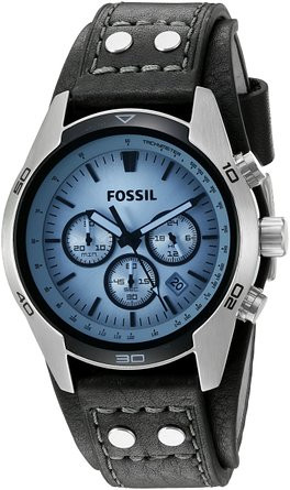 Fossil Men's Chronograph Black Leather Strap Watch CH2564