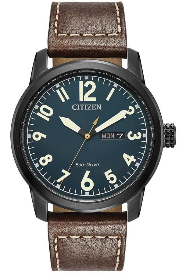 Citizen Chandler Men's Eco-Drive Dark Blue Dial Brown Leather Watch BM8478-01L