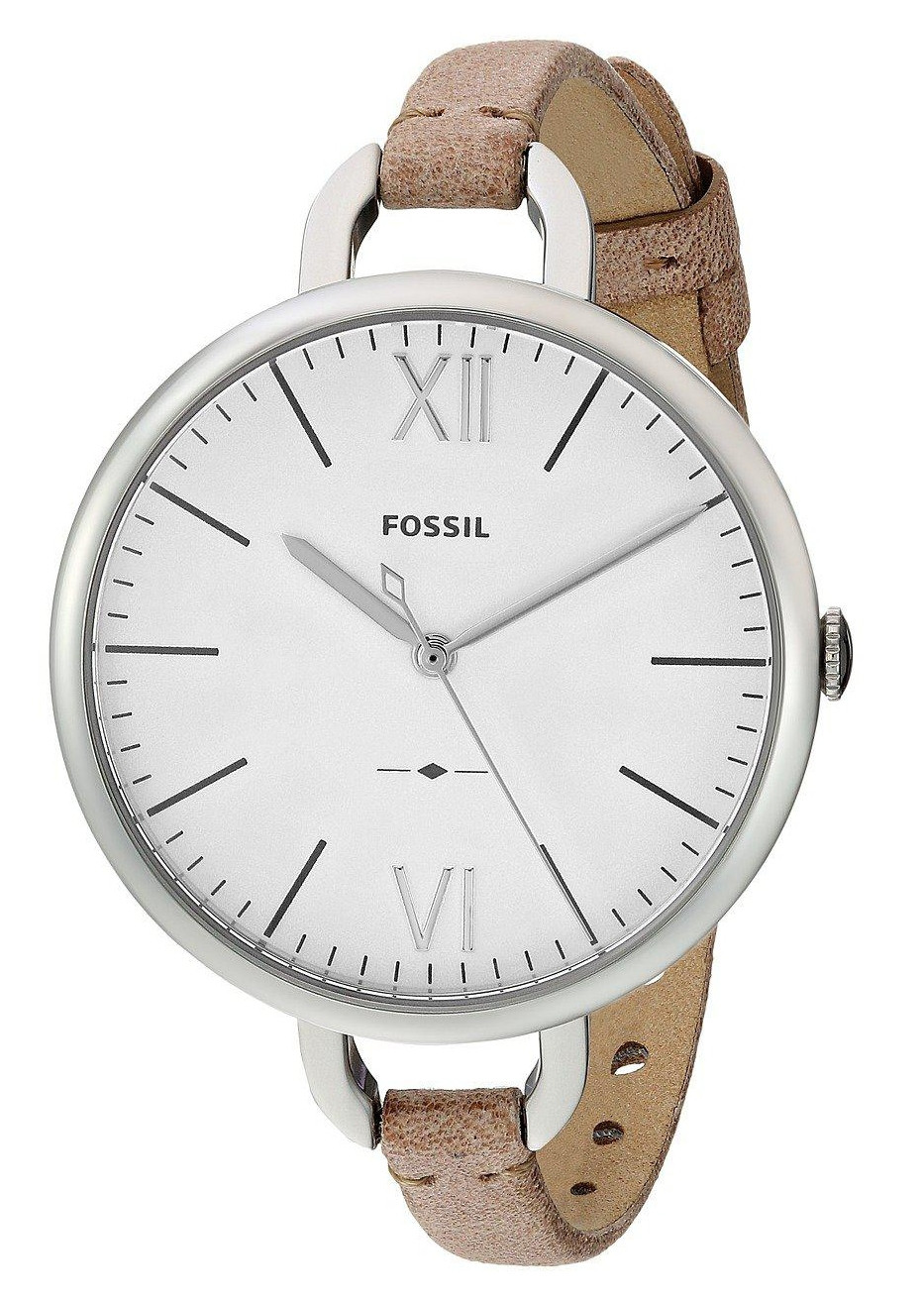 Fossil Women's Annette White Dial Brown Leather Watch ES4357