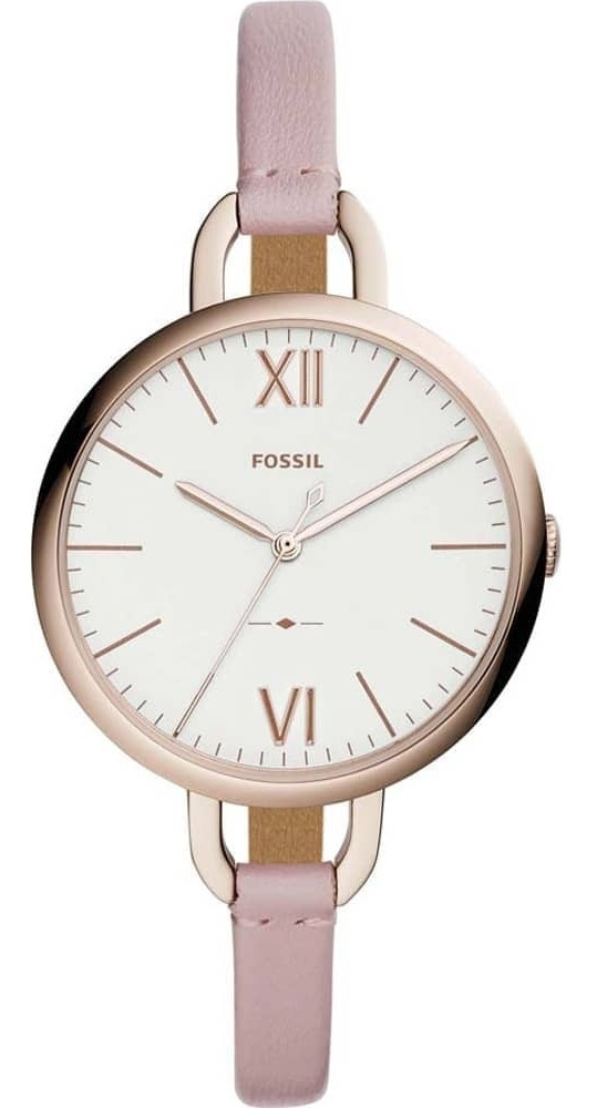 Fossil Women's Annette Silver Dial Pink Leather Watch ES4356