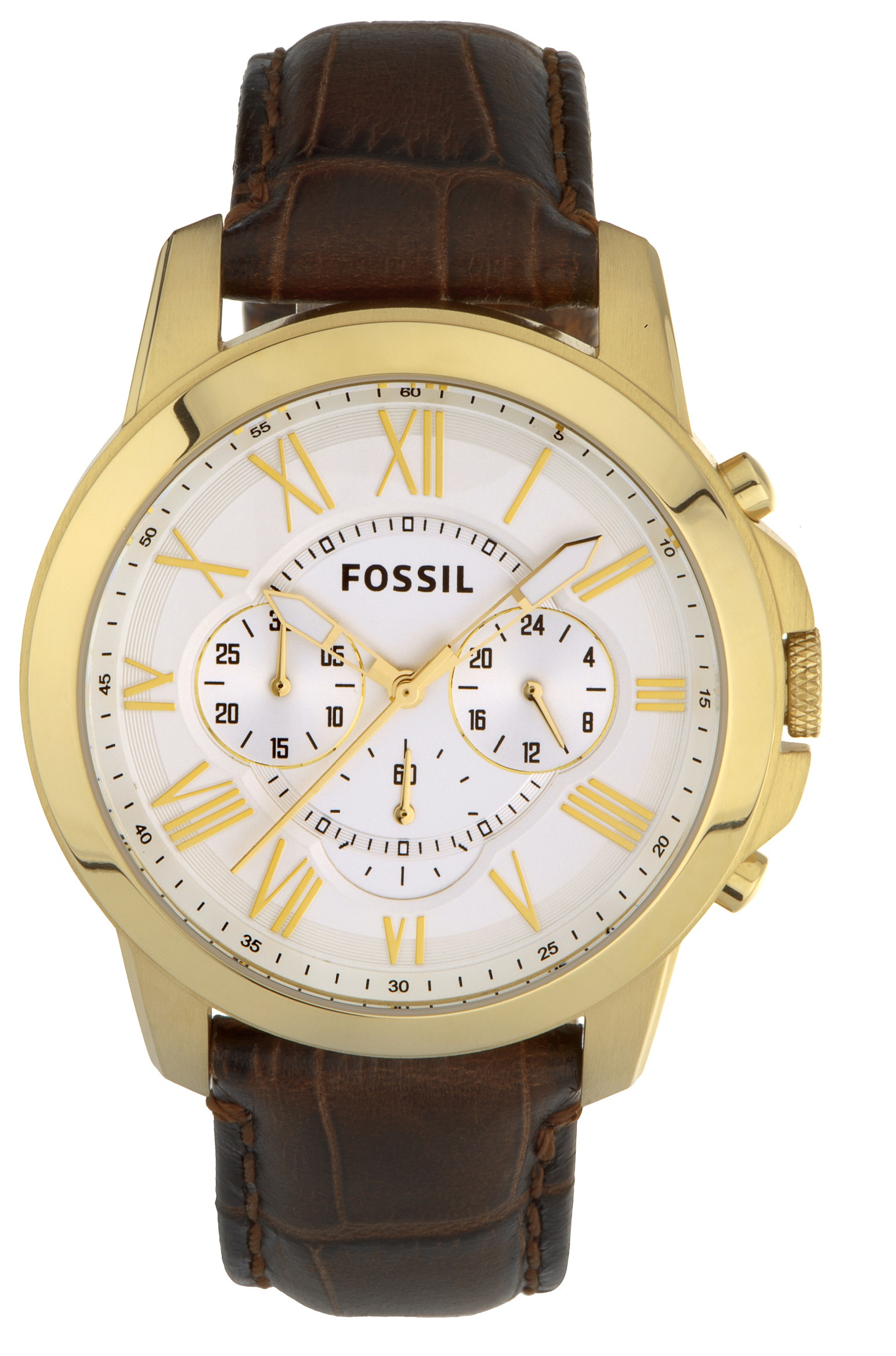 Fossil Mens Grant Chronograph Brown Leather Watch Fs4767 Jr1356