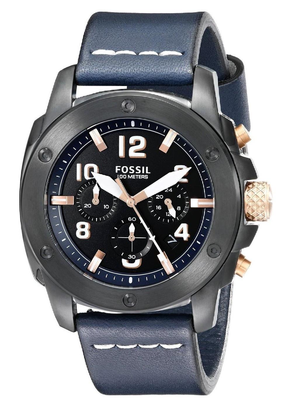 Fossil Men's Modern Machine Chronograph Blue Leather Watch FS5066