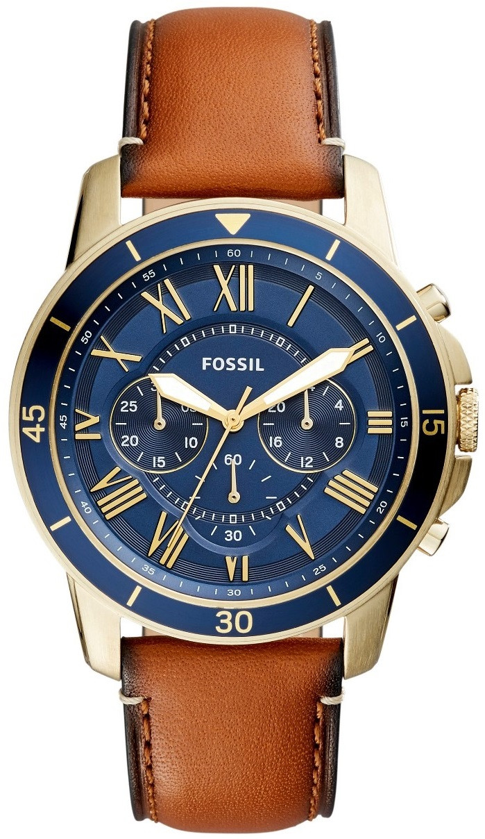Fossil Men S Grant Chronograph Brown Leather Watch Fs5268