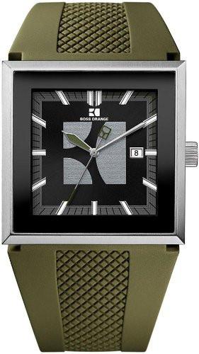 Hugo Boss Orange Men's Black Dial Green Silicone Watch 1512704