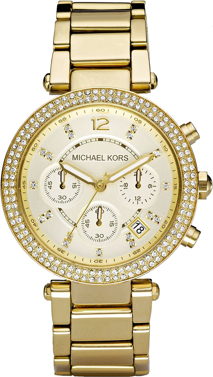 644ab98cc8d Michael Kors Women s Parker Chronograph Gold Tone Watch MK5354