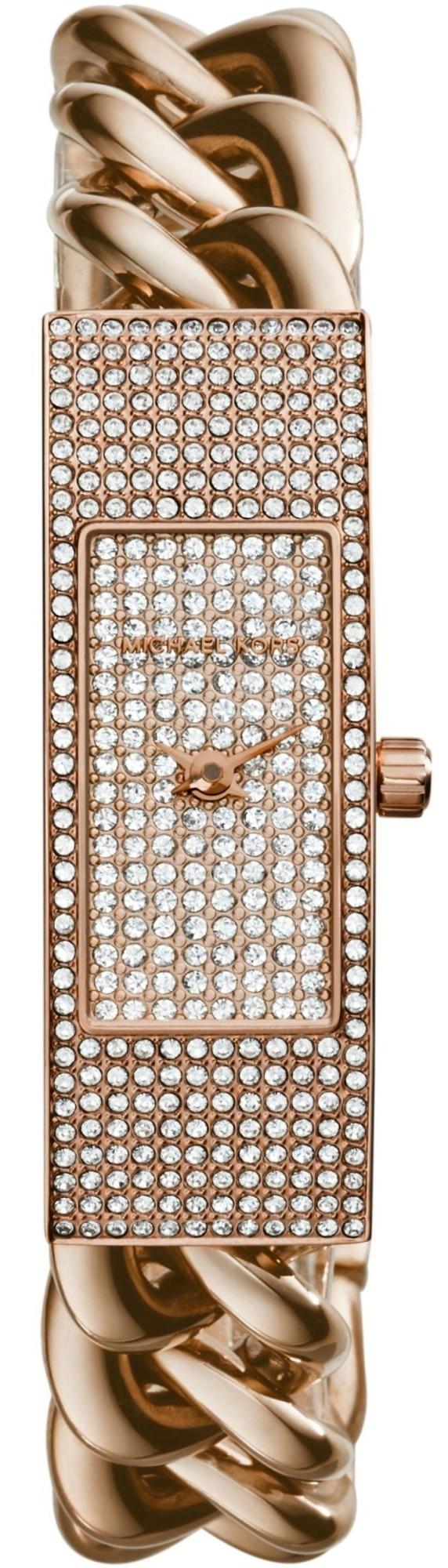Michael Kors Women's Hayden Crystal Pave Dial Rose Gold Tone Watch MK3307