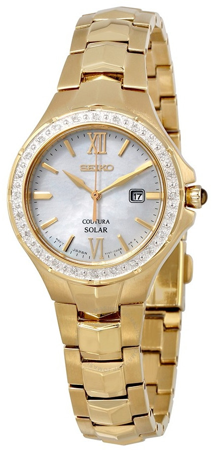 Seiko Coutura Solar Women S Mother Of Pearl Gold Stainless