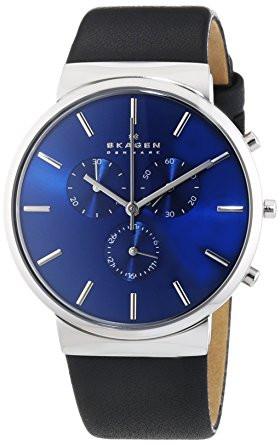 Skagen Men's Ancher Chronograph Black Leather Watch SKW6105