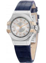 Maserati Women's Potenza Silver Dial Blue Leather Watch R8851108502