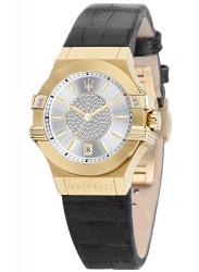 Maserati Women's Potenza Silver Dial Black Leather Watch R8851108505