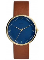 Fossil Men's Essentialist Blue Dial Brown Leather Watch FS5473