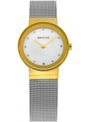 Bering Women's Classic White Dial Gold Stainless Steel Mesh Watch 10126-001