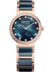 Bering Women's Blue Mother Of Pearl Dial Two Tone Ceramic Watch 10729-767