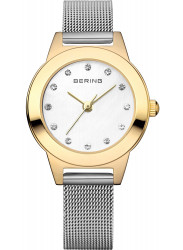 Bering Women's White Dial Gold tone Stainless Steel Watch 11125-010
