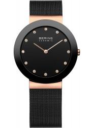 Bering Women's Black Dial Black Stainless Steel Mesh Watch 11435-166