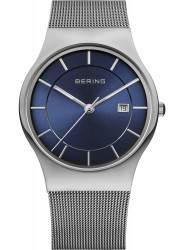 Bering Men's Classic Blue Sunray Dial Stainless Steel Mesh Watch 11938-003