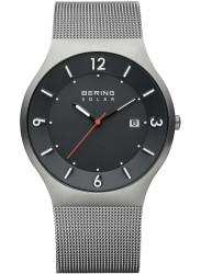 Bering Men's Solar Dark Grey Dial Stainless Steel Mesh Watch 14440-077