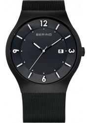 Bering Men's Solar Black Dial Stainless Steel Mesh Watch 14440-222