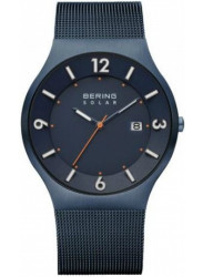 Bering Men's Solar Blue Stainless Steel Mesh Watch 14440-393