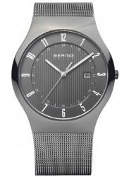 Bering Men's Solar Grey Dial Stainless Steel Mesh Watch 14640-077