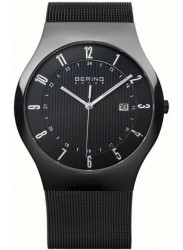 Bering Men's Solar Black Dial Stainless Steel Mesh Watch 14640-222