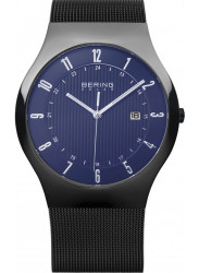 Bering Men's Solar Blue Dial Stainless Steel Mesh Watch 14640-227