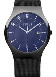 Bering Men's Solar Blue Dial Stainless Steel Mesh Watch 14640-227