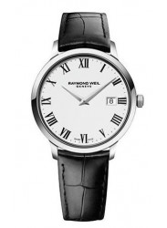 Raymond Weil Men's Tradition White Dial Black Alligator Leather Watch 54661-STC-00300
