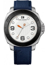 Hugo Boss Orange Men's Silver Dial Blue Canvas Watch 1512667