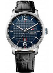 Tommy Hilfiger Men's George Blue Dial Black Leather 1791216