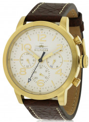 Tommy Hilfiger Men's Jake White Dial Brown Leather Watch 1791231