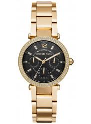 Michael Kors Women's Mini Parker Chronograph Black Dial Gold Tone Stainless Steel Watch MK3790