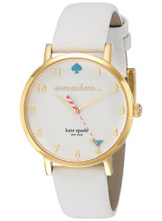 Kate Spade Women's Metro White Dial Leather Strap Watch 1YRU0765