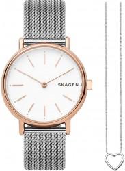 Skagen Women's Signatur White Dial Stainless Steel Gift Set SKW1106