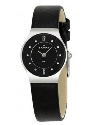 Skagen Men's Black Dial Leather Watch 233XSSLB