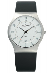 Skagen Men's Denmark Black Leather Black Dial Watch 233XXLSLC
