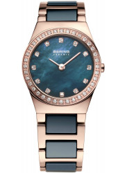 Bering Women's Blue Mother Of Pearl Dial Two Tone Ceramic Watch 32426-767