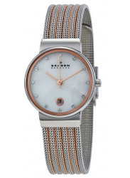 Skagen Women's Mother of Pearl Two Tone Mesh Watch 355SSRS