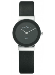 Skagen Women's Freja Black Leather Watch 358SSLB