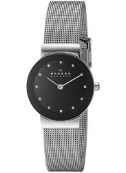 Skagen Women's Black Dial Mesh Swarovski Watch 358SSSBD