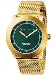 Perry Ellis Unisex New Slim Line Green Sunray Dial Gold Stainless Steel Watch 11001-04