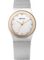 Bering Women's White Dial Gold Tone Stainless Steel Mesh Watch 12927-010