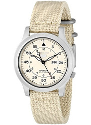 Seiko Men's Automatic Beige Dial Canvas Watch SNK803