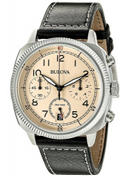 Bulova Men's Chronograph Black Leather Beige Dial Watch 96B231