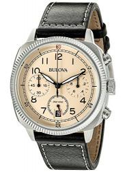 Bulova Men's Chronograph Black Leather Beige Dial Watch 96B231