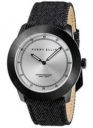 Perry Ellis Unisex New Slim Line Grey Sunray Dial Black Denim Strap Watch 11004-05